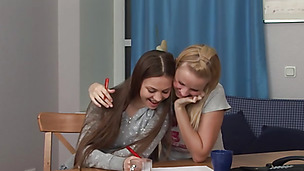 Sasha K and Alice K have a sexy study session