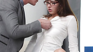 Slutty Jess is seducing her art teacher with huge success