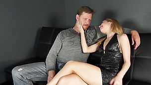 Blonde beauty seduces her man and gets drilled doggy style