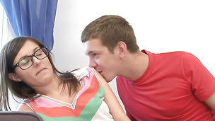 Slender young Marta B. and big dicked fellow have wild sex