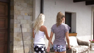 Insatiable blonde Sara J vigorously rides her playmate's meat