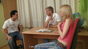 Appealing blonde teenager Violetta hops on a bf's hard sausage