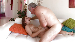 Alluring young girlfriend sucks pecker and gets hammered